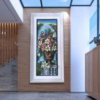 简约欧式风景1米8超大竖版玄关画树脂19年新款浮雕风景走廊过道装饰画