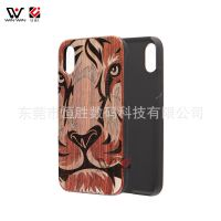 动物图腾木制苹果iPhonex 红木+塑料镭射外贸手机壳Apple10保护套