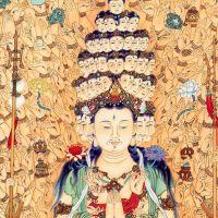 千手千眼观音画像挂画 千眼千臂观世音 佛教装饰画 丝绸画 卷轴画