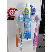 供应创意可爱无痕牙刷架  亚克力强力吸盘透明牙刷架 可来图定制