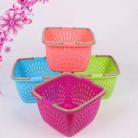 厂家直销塑料收纳篮 大号塑料手提篮 蔬菜筐子 购物篮子 洗浴篮