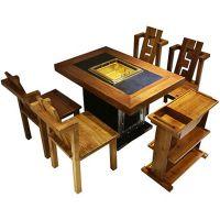 重庆众美德供应新中式火锅桌,仿古实木火锅店餐桌,餐桌餐椅组合