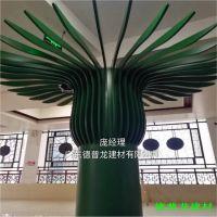 学校工程绿色支撑柱铝树造型铝扁通_2.5厚绿树柱子铝方通实例图