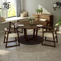 北欧大理石餐桌圆桌组合原木简约现代6人带转盘饭桌尺寸定制