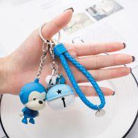 BS-001P厂家直销卡通发声发光迷你小猴子玩具皮绳钥匙扣铃铛挂件
