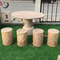 户外石桌石凳 大理石休闲桌凳桌椅 花园茶几石桌