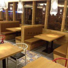 绵阳市烤鱼店卡座沙发定做,拼接木板卡座沙发案例