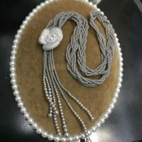DIY饰品微镶锆石大山楂花珍珠项链吊坠挂件 毛衣链配件