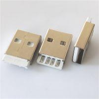 短体A公 180度 焊线式 USB2.0 AM L=19.1mm 短款 插头 白胶 铁壳 镀镍