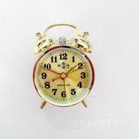 牌小型机械闹钟表传统上金银的袖珍型闹表怀旧中小发条闹打铃