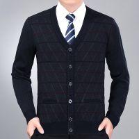 雅希特2017秋季新款男式长袖针织开衫简约舒适时尚休闲中老年毛衫