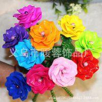 工厂直销手工DIY串珠玫瑰花摆件 亚克力材料美人菊工艺品礼品玫瑰