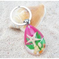 海洋琥珀钥匙扣 贝壳海星挂件 海边旅游纪念品 汽车钥匙扣配饰