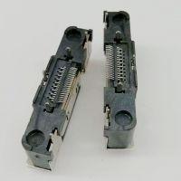 HDMI立式贴片母座/19P-A型/180度五脚插板DIP/单排贴板SMT/带双耳螺丝孔/黑胶
