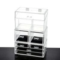 透明化妆品防尘盒整理翻盖防尘柜亚克力收纳盒大号抽屉式韩国塑料