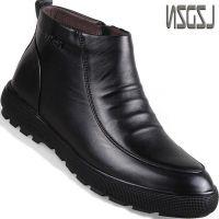 拉链冬天加棉保暖男鞋冬季加绒男士棉鞋男款皮鞋棉靴中年冬款高腰