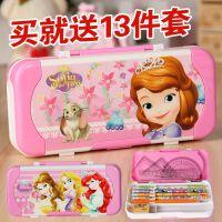 白雪公主文具盒女孩幼儿园儿童用双三层可爱卡通小学生铁铅笔盒