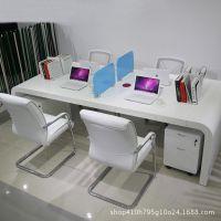 简约现代职员办公桌4人位 白色钢琴烤漆办公桌组合 电脑桌