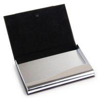 得力名片盒 男士 商务送礼金属皮革名片夹 名片收纳盒 7628