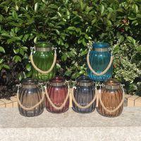 金属项圈麻绳提手玻璃工艺品水培植物玻璃花瓶现代家居摆件批发