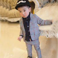 新款网店代理男童格子西服套装2018春款童装 休闲长袖春季两件套