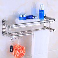 双杆免卫生间加带挂钩双层吸盘式厕所浴室壁挂架置物毛巾打孔长款