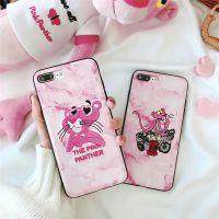 卡通大理石粉红豹iPhonex手机壳 苹果7/8plus全包刺绣软壳6s女款