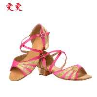 厂家热销 粉红色女童拉丁舞蹈鞋 pu拉丁舞儿童舞鞋