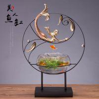 新中式创意实用家居玄关茶几柜装饰品禅意客厅样板房鱼缸工艺摆件
