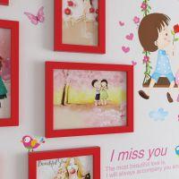 温馨浪漫墙贴纸客厅卧室墙壁装饰品田园风情侣秋千照片墙相框画框