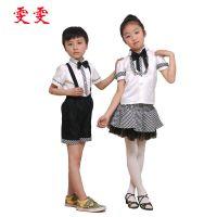 厂家提供 夏季白灰格学生团体校服 幼儿园小学学生校服套装批发