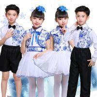 新款儿童青花瓷演出服中小学生诗歌朗诵合唱服幼儿合唱团舞蹈服装