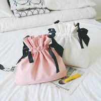 厂家直销新品小清新抽带帆布包女单肩包女包韩版百搭撞色手提包袋