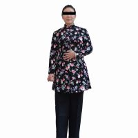 支持定做冬装新款棉袄时尚印花修身收腰中长款棉衣加绒黑色长裤