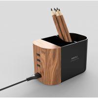 NIEPU聂普 高品质 2.1A 2.4A 笔筒充电器 木纹 3口USB
