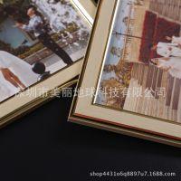 新款简约现代金色照片墙组合装修书房客厅文艺照片墙实木相框创意
