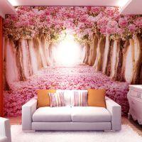 个性大型壁画樱花墙纸3d立体壁纸电视卧室床头粉色温馨背景墙