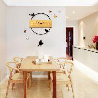 北欧创意摇摆挂钟 客厅卧室静音时钟木质挂表现代简约家居壁钟