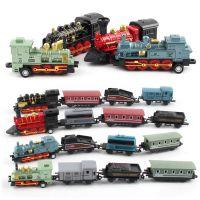 仿真蒸汽小火车回力车合金复古火车儿童玩具车模型火车套装