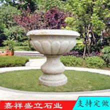 园林庭院广场欧式石材花盆 黄锈石大理石石雕石头花盆石头花钵