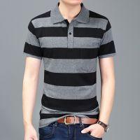 男士短袖T恤翻领条纹夏季新品中年大码宽松打底衫体恤男装上衣服