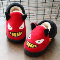 冬季儿童棉拖鞋Q萌小怪兽小童男童女童宝宝防滑可爱卡通包跟棉鞋