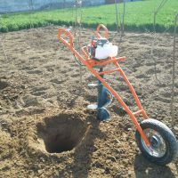 独轮手推式地钻机 厂家定制生产手推独轮植树挖坑机