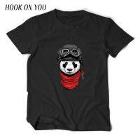 新款飞行熊猫印花图案男士短袖纯棉圆领套头T恤打底衫