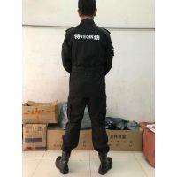 网格抗撕裂黑色保安内保作训服套装|男静电丝训练服|保安服|保安作战服