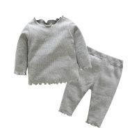 ins爆款套头男女童打底衫套装 中小童舒适纯棉家居服速卖通批发