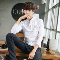 2017男装秋冬季韩版日系青年V字领学生长袖t恤男式上衣服潮打底衫