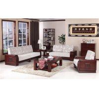 青岛木言木语全实木沙发 新中式沙发组合 富贵红色 黄菠萝木高档实木客厅家具