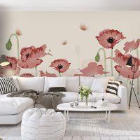 唯美水彩手绘粉色花卉客厅电视背景墙纸沙发无纺布壁纸大型壁画布