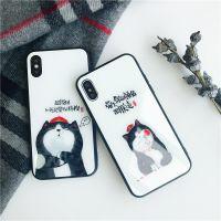 可爱 招财猫iphone x手机壳 个性文字苹果7 8plus 防摔玻璃手机壳